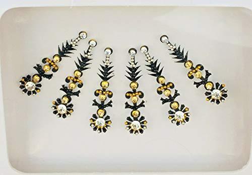 BB198 Noir Bindi Or Argent StonePearl perles Bindi Tattoo autocollant de mariage Forehead Tikka Indian Fancy Party arabe face Gem Body Art