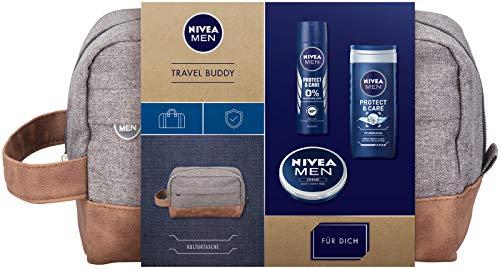 NIVEA MEN Travel Buddy Geschenkset, Kulturtasche für Männer mit Deodorant, Pflegedusche und Hautpflege Creme, Weihnachtsgeschenke Set für den gepflegten Mann