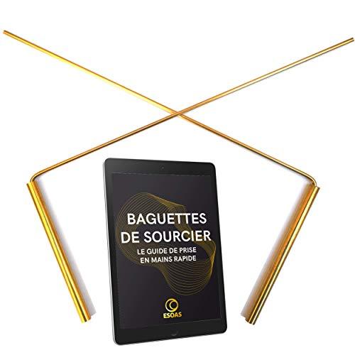 Esoas Baguettes DE SOURCIER parallèles coudées en L - Laiton (cuivre/Zinc) - Fabrication Artisanale Française, Idéal Radiesthésie et Géobiologie, Radmaster [Garantie à Vie] + Guide PDF Offert