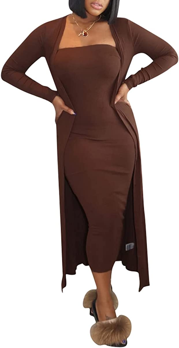 Womens 2 Piece Dress Outfits Open Front Cardigan + Sexy Bodycon Tube Maxi Dress Set Clubwear