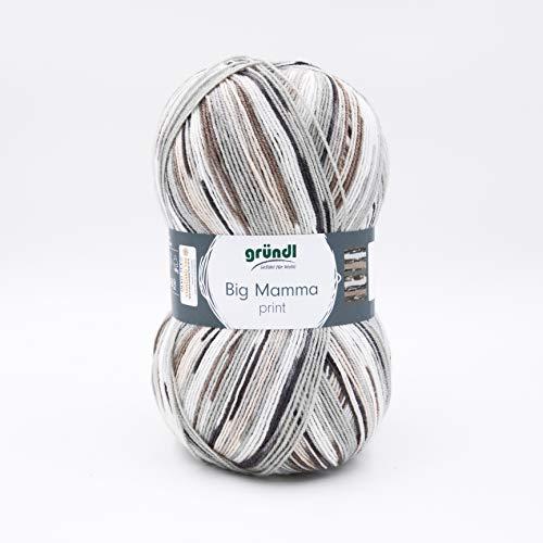 Gründl 2612-42 Big Mamma print Wolle, Acryl, weiß-grau-hellgrau-beige-sand, 30 x 17 x 14 cm