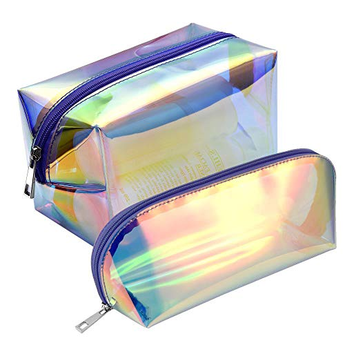 Holographic Makeup Bag, F-color 2 Pack Fashion Cosmetic Travel Bag Large Toiletry Bag Makeup