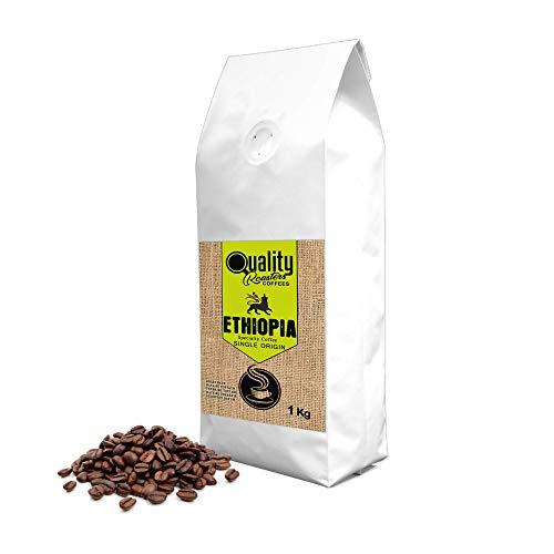 Quality Roasters Coffees. Spezialität geröstete Kaffeebohnen. Einzigartige Herkunft Äthiopien Sidamo. Prozess gewaschen. Mittlere Röstung. Handgemachte Röstung. 1kg