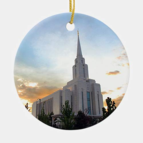 3 Inch Christmas Ornament, LDS Mormon Oquirrh Mountain Utah Temple Ceramic Ornament, Xmas Ornament Keepsake Gift