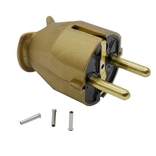 Enchufe con protección de contacto dorado, 16 A, IP20, 250 V, incluye 3 casquillos de 1,5 mm², conector de contacto