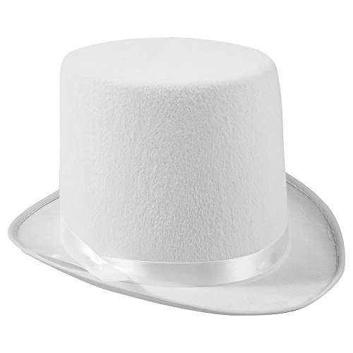 Funny Party Hats White Top Hat - Costume Top Hat - Felt Top Hat