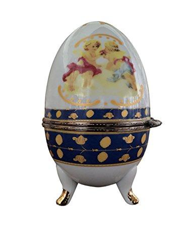 aubaho Huevo Porcelana Huevo Huevo de Pascua del ángel joyero Estilo