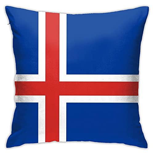 Funda de almohada grande decorativa cuadrada de Islandia con bandera de mapa suave y suave, lavable para sofá, silla, cama y hogar