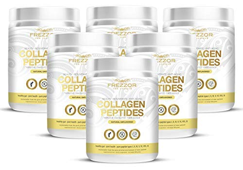 FREZZOR PURE COLLAGEN PEPTIDES Powder Supplement 6-Pack, 100% Grass-Fed New Zealand Cattle Source, Joint Skin Hair & Nail Support, Unflavored, Amino Acids, Anti-Aging, Beauty, Digestion, Pain Solution
