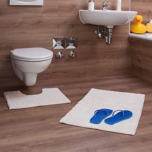 Relaxdays 2-delige badaccessoireset, streep ontwerp, voor verwarmde vloer, wasbaar, badmat en voetstuk toiletmat, 80 x 50 cm, champagne