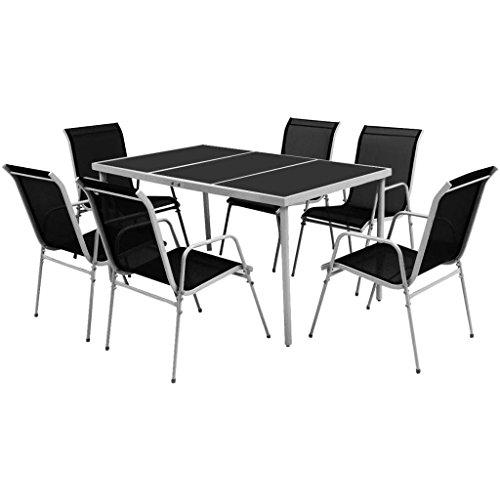 Tidyard Muebles de Comedor Set Jardín Terraza Conjuntos de Muebles de Jardín 7 Piezas 1 Mesa y 6 Sillas Apilables Superficie de Vidrio Templado