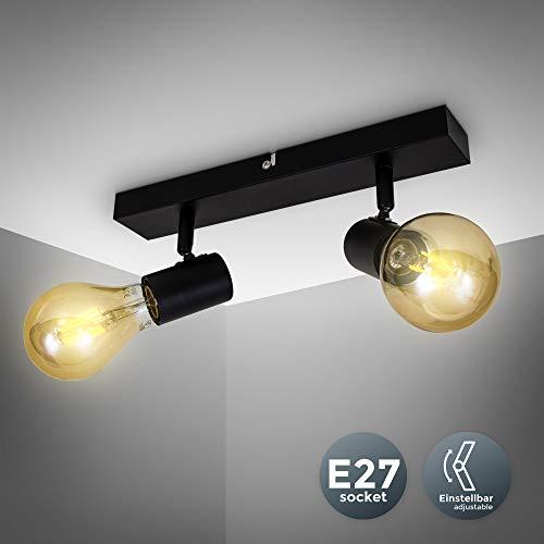 B.K.Licht I Vintage plafondlamp I retro plafondlamp excl. 2x max. 60W E27 lampen I plafondlamp in landelijke stijl