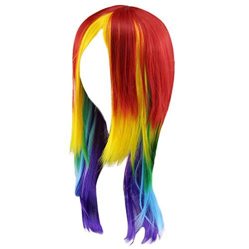 DOGZI Peluca, My Little Pony Rainbow Dash Cosplay Peluca Cola de caballo Multicolor Sintético Completo Largo