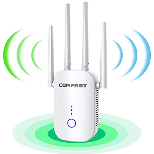 WiFi Range Extender 1200Mbps Booster for The Hourse, 2500FT Repeater 2.4 & 5GHz Dual Band WPS Booster WPS Easy Setup, Work with Any WiFi Routers Perfect Extension of Life.