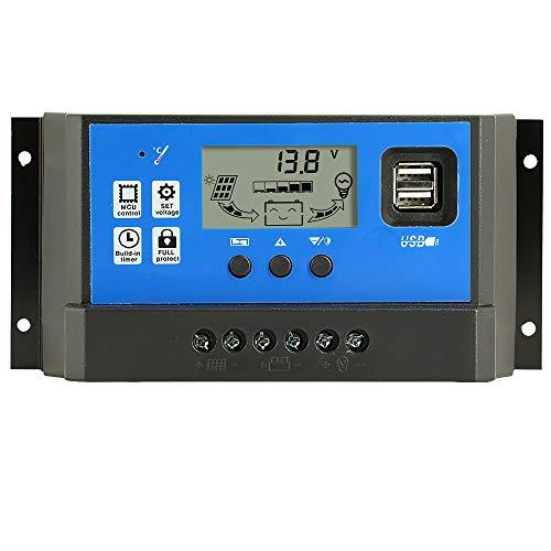 Y&H 60A ソーラーチャージャーコントローラー 12V/24V チャージコントローラー LCD 充電 電流ディスプレイ 液晶 ソーラーコントローラ デュアル USB付き ソーラーパネル バッテリレギュレータ 自動調整スイッチ 過負荷保護