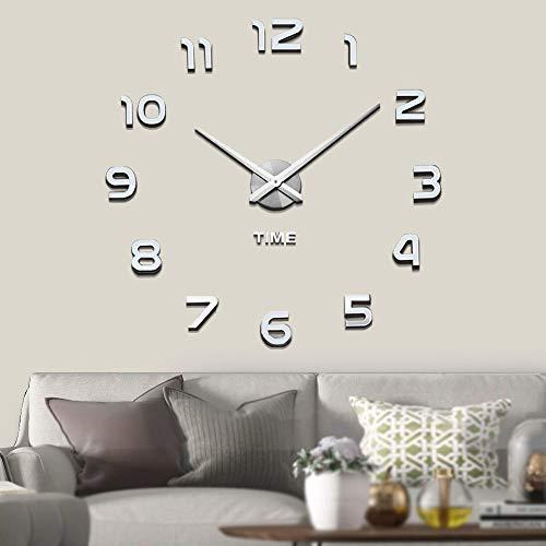 VANGOLD Mute DIY Reloj de Pared sin Marco Espejo Grande 3D Sticker-2 años de garantía (Plata)