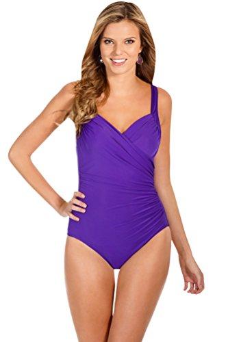Miraclesuit Violet DD-Cup Sanibel Underwire One Piece Swimsuit Size 16DD
