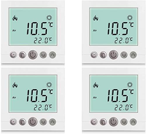 4X Elifano Thermostat Einstellbare Zimmer Digital Thermostat programmierbarer LCD kabellos für Heizung elektrisch 4 -Pack weiß