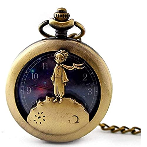 XXCHUIJU Retro Dragon Anime Little Prince Dibujos Animados Hollow Flip Bolsbol Reloj de Bolsillo como el Día del Padre