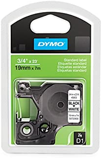 "DYMO Standard D1 Labeling Tape for LabelManager Label Makers, Black Print on White tape, 3/4"" W x 23' L tape, 1 cartridge (1761260)"