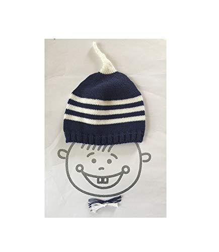 Babymütze, Kindermütze, Strickmütze, Mütze gestrickt, Babymütze, Mütze mit Antenne, blau, weiß, Streifen