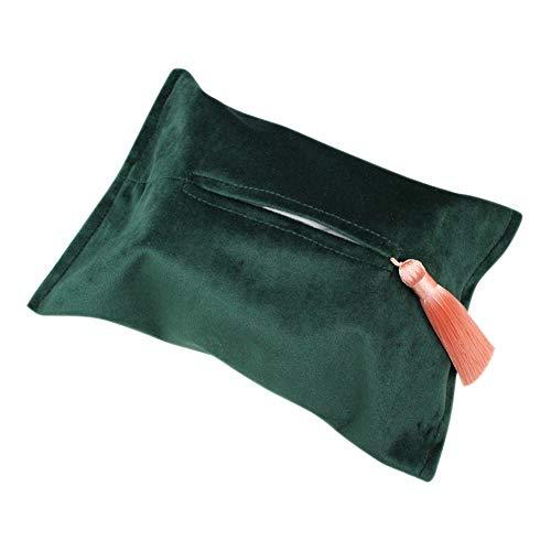 Papier-Tuchbox-Abdeckung für Kosmetiktücher, Samt, für Badezimmer, Arbeitsplatten, Schlafzimmerkommode, Nachttisch, Schreibtisch und Tische, grün