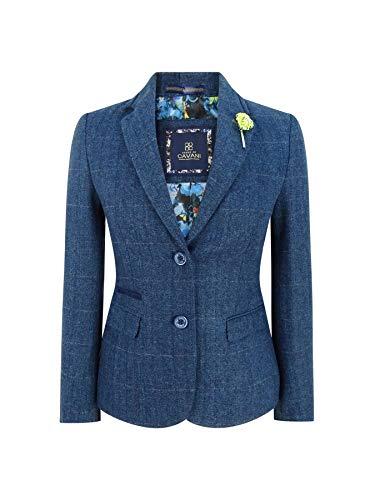 House Of Cavani Damensakko Marineblau Blau Tweed Design 1920s Stil Vintage - blau S