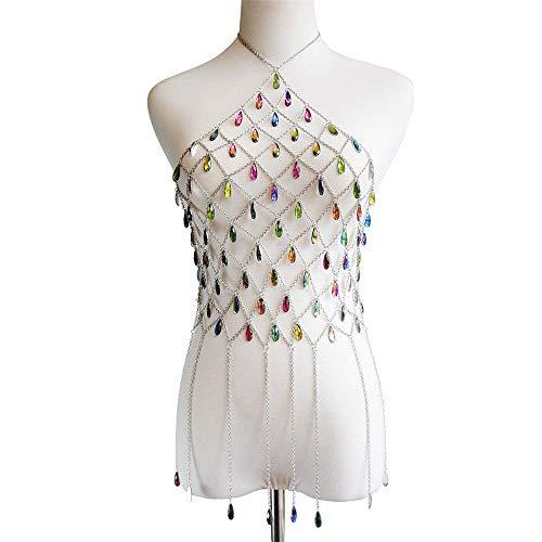 Preisvergleich Produktbild Sikungjlk Body Chains Halskette Sexy Bikini Schmuck Damen Badeanzüge Top BH Körperkette Für Frauen Ketten Sommer Zubehör Für Beach Party Schwimmbad Nachtclub Körperkette für Frauen Mädchen