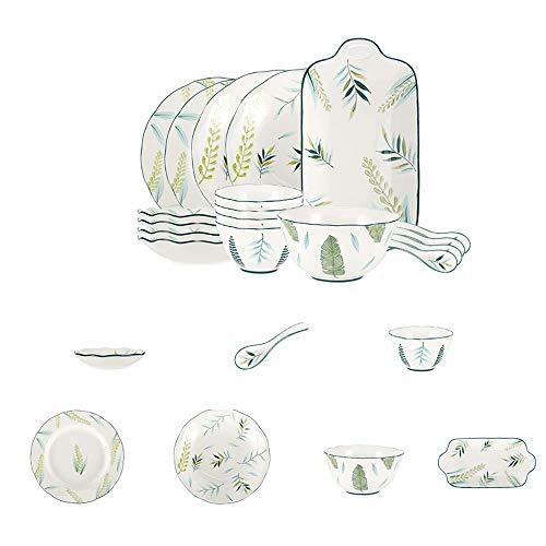 ZLSP Modelo de la hoja verde Conjunto Vajilla, creativa casa de cuatro personas a establecer los platos fijaron un conjunto de exquisita vajilla ZLSP