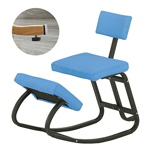 LIfav Kneeling Chairs, Ergonomic Balance Kneel Stool Rocking with Back Support for Perfect Posture Kids Children, with Backrest, Best Gift,Blue