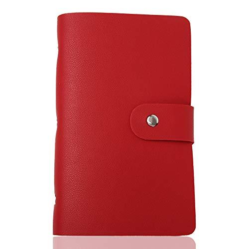 [LASSE MOA] カードケース 大容量 156枚収納 カードホルダー レディース メンズ 名刺ホルダー 名刺ファイル クレジットカードケース スキミング防止 (レッド)