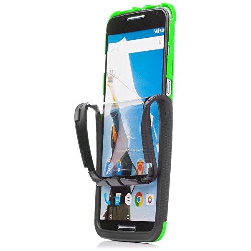 iCues Schutzhülle für Motorola Google Nexus 6   2 Part Touch Hülle Grün   Outdoor Dickes Hardcase Stoßfest Militär Lifeproof Männer Jungs 360 Grad Bildschirm Full Body R&um beidseitig Komplett vorne hinten double Front Hülle Cover Schutz