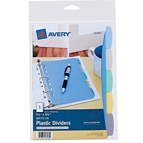 Avery 5-Tab Plastic Mini Binder Dividers, Write & Erase Multicolor Tabs, 1 Set (16180)