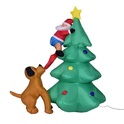 ZYEZI Modello Gonfiabile di Natale, Albero Rampicante Divertente di Santa Morso dal Cane per Il Giardino All'Aperto Dell'Interno 5.9Ft del Cortile