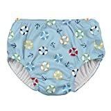 i play. by green sprouts Boys' Pull-up Reusable Absorbent Swimsuit Diaper, Light Blue Lifesaver, 4T