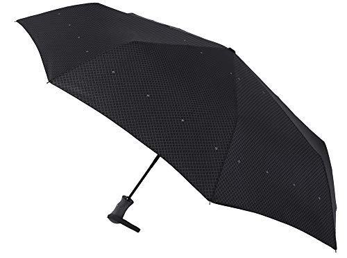 Elegante Paraguas Vogue Estampado Plegable. Golf XXL. Apertura y Cierre automático. Acabado Teflón y Sistema antiviento. (Estampado Trama Rombos)