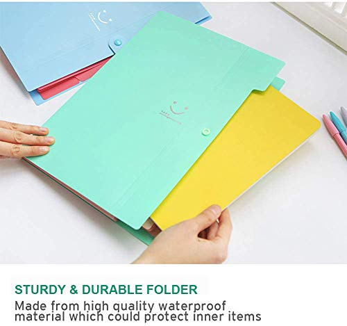 Sooez 4 Pack Expanding File Folders, Accordion Folders Plastic Folders Expanding Folders A4 Letter Size Document Organizer with File Folder Labels(Multicolored) Photo #6