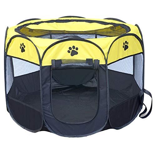 Shufeivicc. Moda Oxford Panno Impermeabile Tenda per Cani Pieghevole Ottagonale Outgonal Pet Recence, S, Dimensioni: 73 x 73 x 43cm (Color : Yellow)
