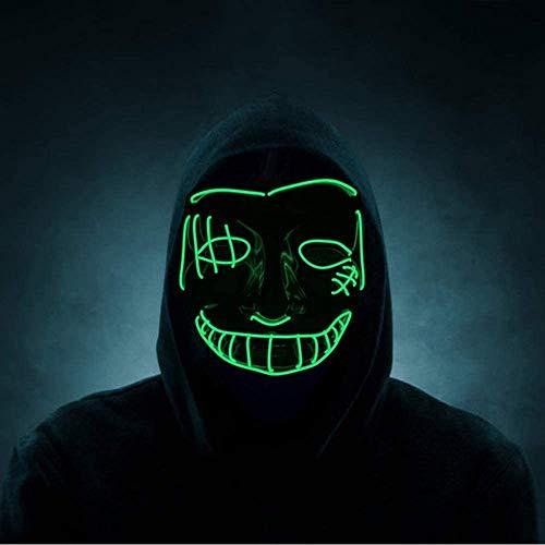 Queta Máscaras LED de Halloween Máscaras Brillo de Terror Adultos, para Cosplay Fiesta Halloween Carnival Grimace Festival Mascarada Navidad, con Control de Interruptor (Verde)