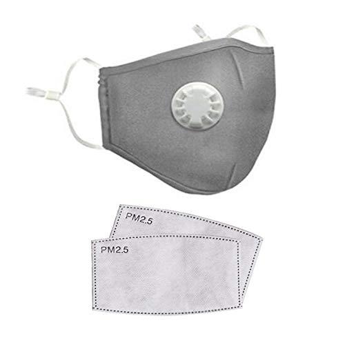 Zyf Wiederverwendbare Mundmaske aus Baumwolle Waschbare Atemschutzmaske mit Staubschutzmaske 2 PCS PM2.5 Filter-China_grau