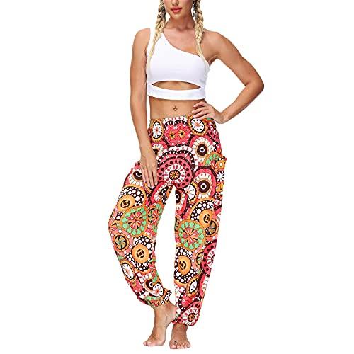 Pantalones deportivos casuales de estilo suelto para mujer con bolsillos y farol impreso, rosa, Talla única