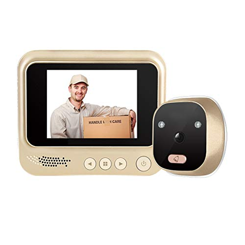3 Inch Kijkgaatje Camera Viewer Digitale Camera & Deurbel, Security Camera Monitor 120 ° Groothoeklens-Night Vision-Video Record Fotosessie -Motion Sensor Door Viewer (Color : Gold+Human induction)