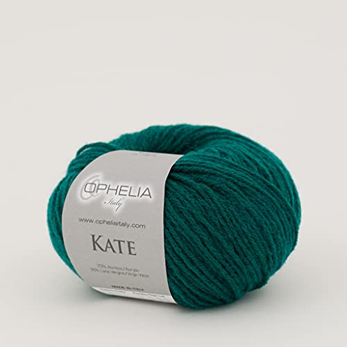Ophelia Italy Kate - 011 Verde Smeraldo - Gomitoli Lana 50g Filato Classico lineare 30% Lana...
