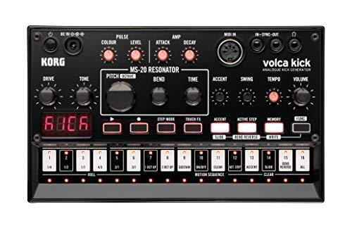 KORG volca kick, Analogsynthesizer, Analoger Kick Generator, portable Drum- und Bassmaschine, schwarz