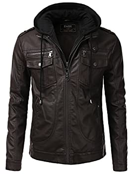IDARBI Men Premium Leather Motorcycle Jacket with Detachable Hood