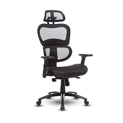 Ergonomic Office Chair - Executive Rolling Task Chair Mesh Desk Chair with 3D Retractable Armrest Adjustable Lumbar Support and Adjustable Headrest for Conference Home Office (Black)