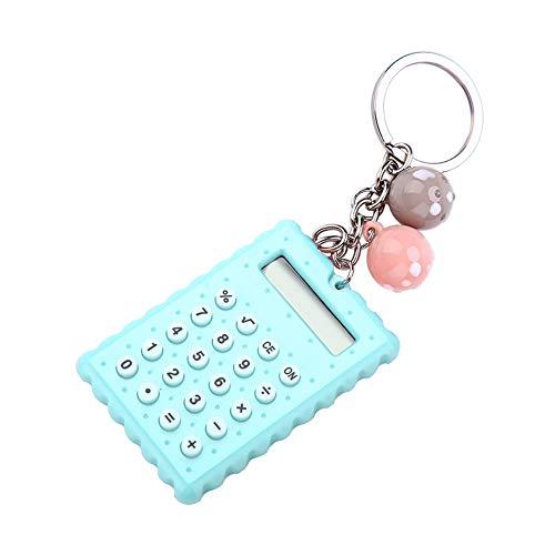 Schlüsselbundrechner, Mini Portable Cute Cookies Style Schlüsselanhänger Rechner, 8-Bit Display Taschenrechner für Kinder/Studenten(Grün)