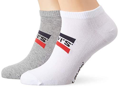 Levi's Herren Levis 168NDL Low Cut SPRTWR Logo 2P Socken, Mehrfarbig (White/Grey 062), 43/46 (Herstellergröße: 043)