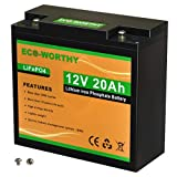 ECO-WORTHY 12V 20Ah LiFePO4 Lithium Iron Phosphate Battery Deep Cycle Rechargeable Battery with Built-in BMS, 3000+ Life Cycles, Perfect for RV, Marine, Kids Scooters, Power Wheels, Trolling Motor