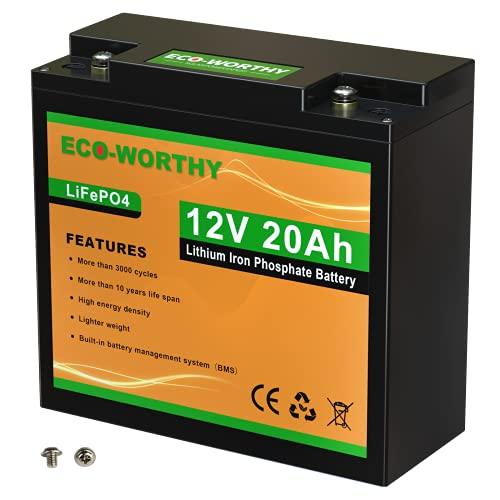 ECO-WORTHY Batterie Lithium 20Ah 12V, Rechargeable avec Solaire, Décharge Profonde Supérieur à 3000 fois, parfait pour Système Off-grid/Marine/Solaire